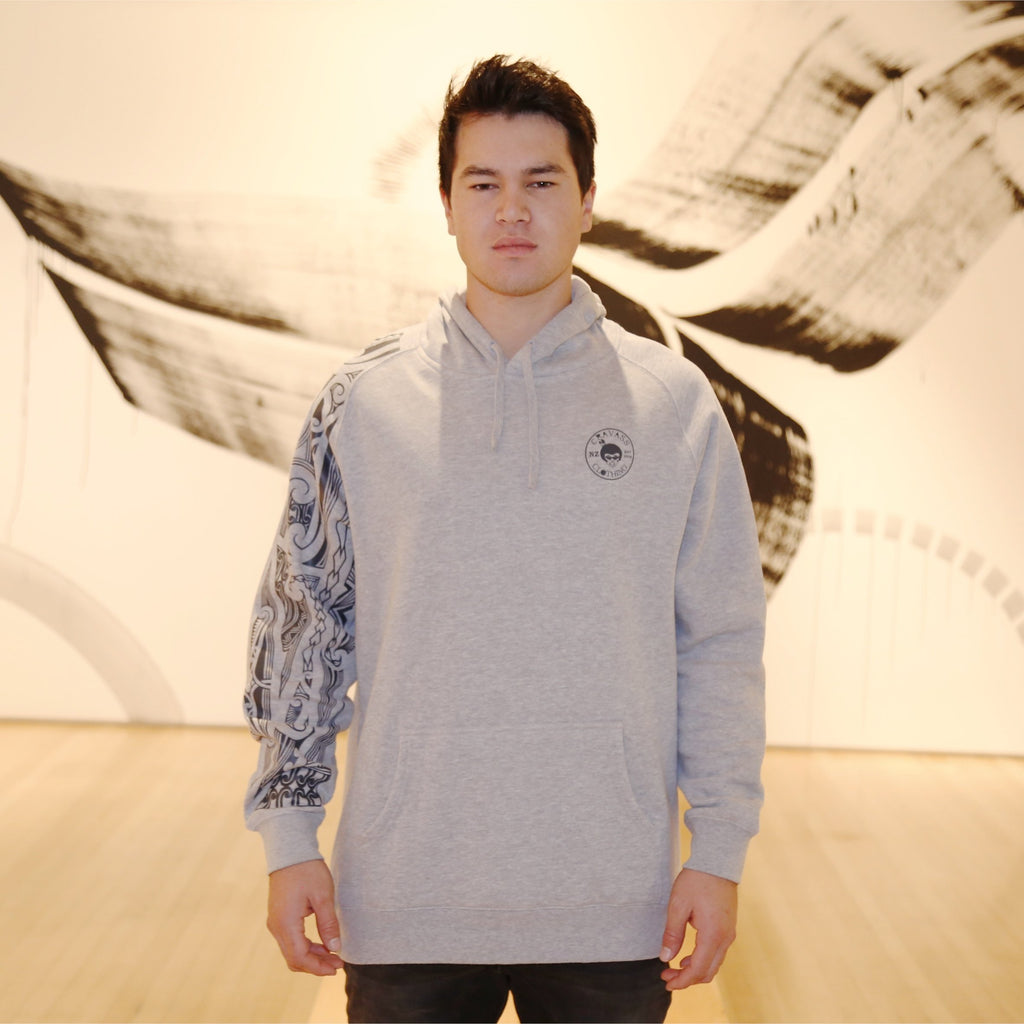 Grey on grey ta moko maori design on chalk hoodie