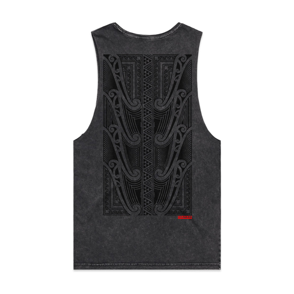 Black acid wash singlet with a large black Maori design on the back from Cravass Clothing