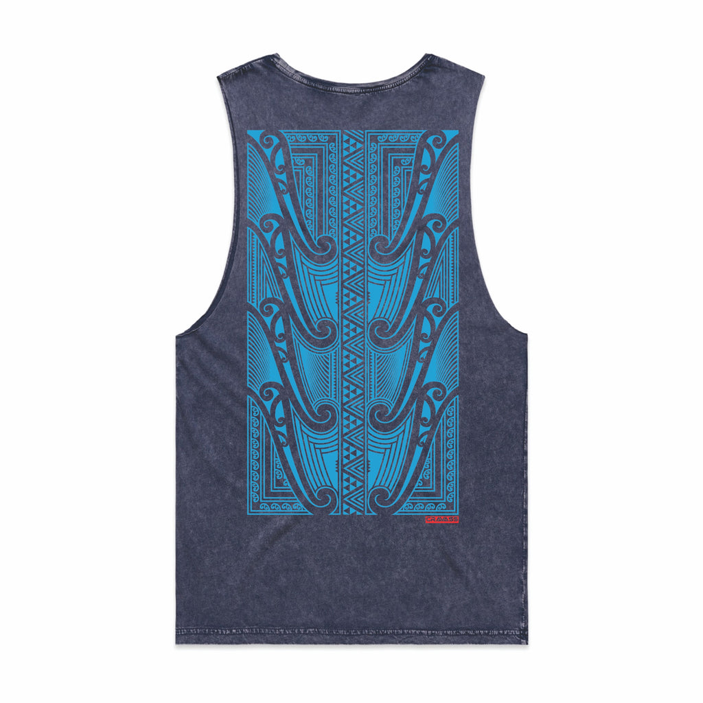 Blue acid wash singlet with a large blue Maori design on the back from Cravass Clothing