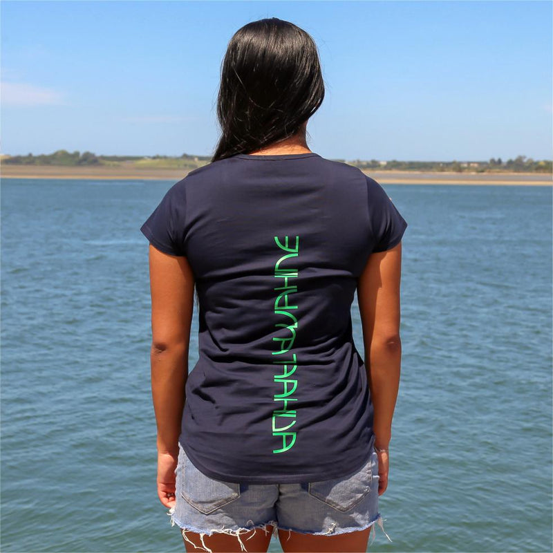 Women's navy tshirt with green maori design stripe from cravass.. Back view with the words Ataahua Wahine.
