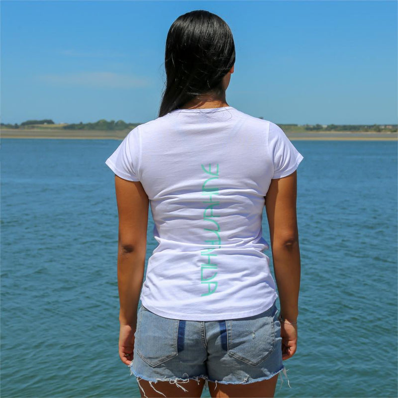 Women's white tshirt with pastel green maori design stripe from cravass.. Back view Ataahua Wahine.