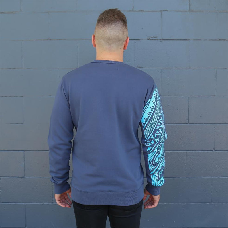 Blue Mens crew jersey with maori ta moko sleeve - back
