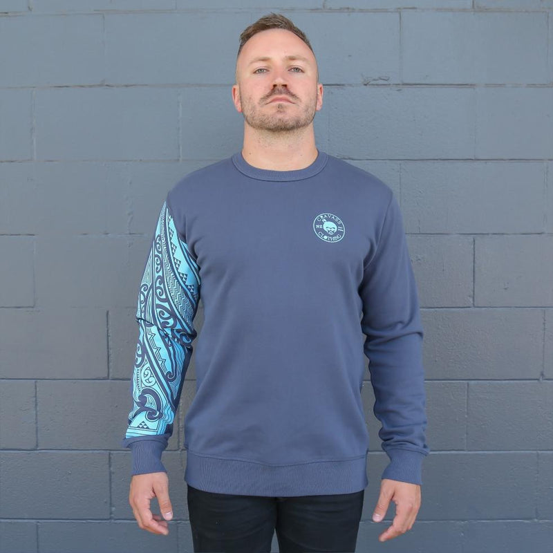 Blue Mens crew jersey with maori ta moko sleeve - front