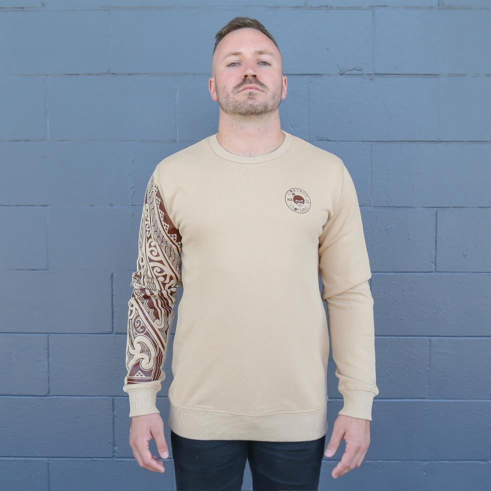 Brown unisex crew jersey with maori ta moko sleeve - front