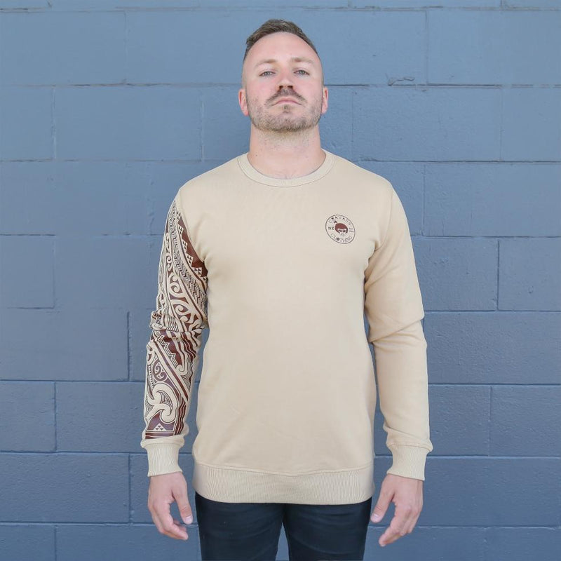 Iwa - Army coloured unisex crew with Khaki green Ta moko Sleeve