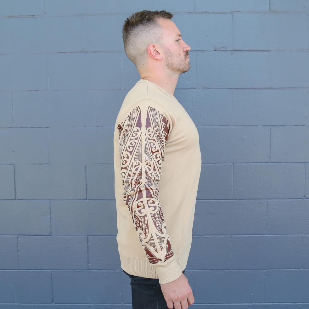 Brown unisex crew jersey with maori ta moko sleeve - side