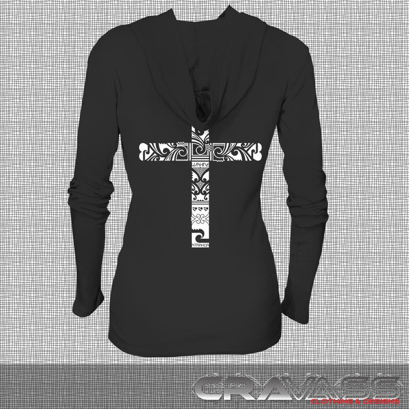 Womens black light hoodie with white cross maori design on back