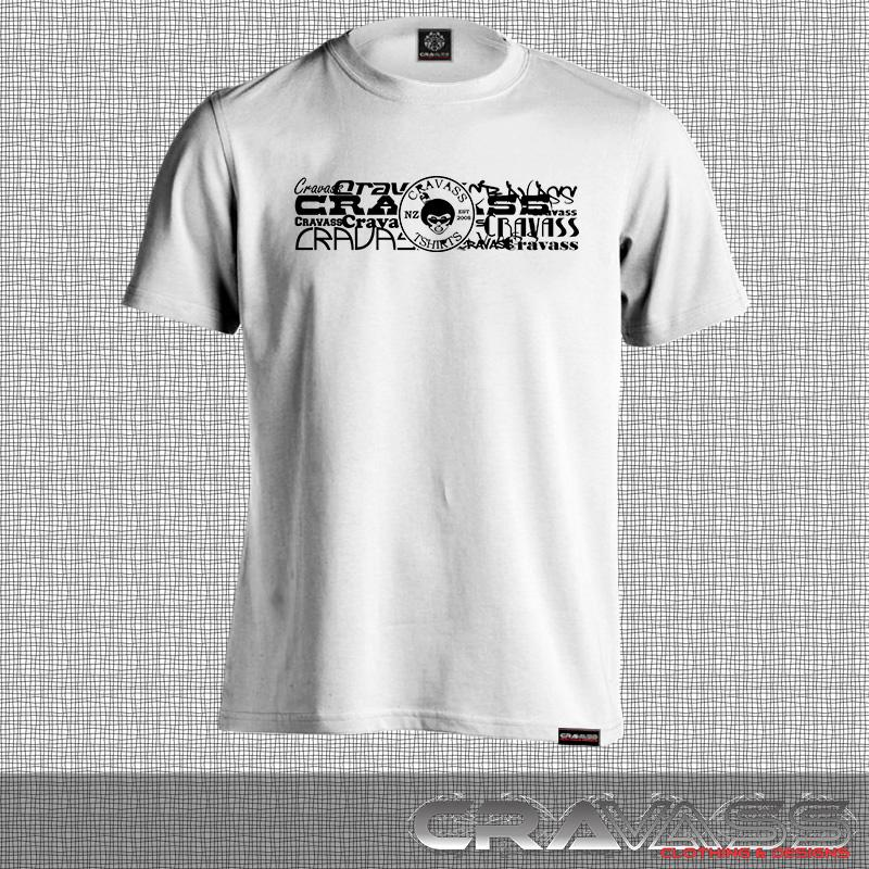 White tshirt with cravass street logo