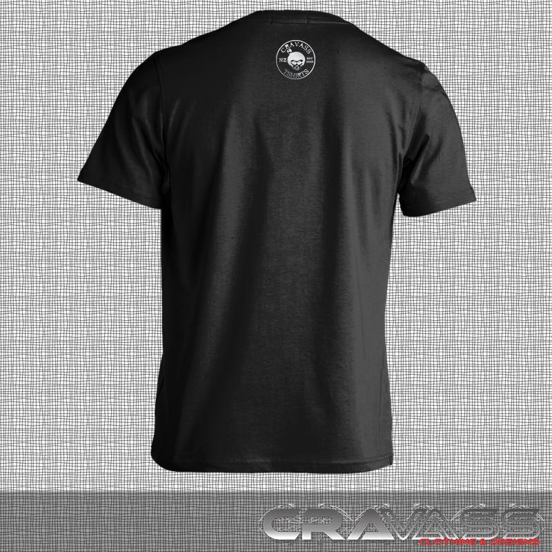 Black tshirt with mirror silver cravass logo