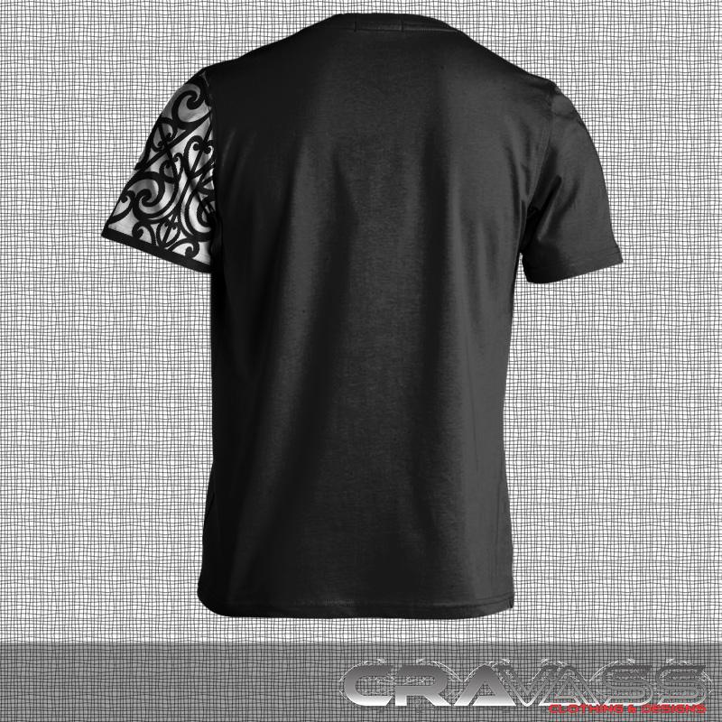 Black tshirt with white ta moko pocket with maori design sleeve.