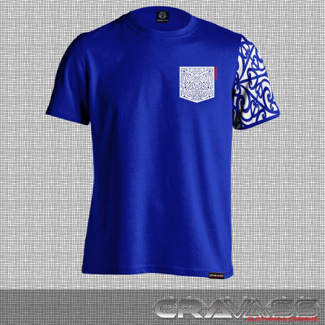 Blue tshirt with white ta moko pocket with maori design sleeve.