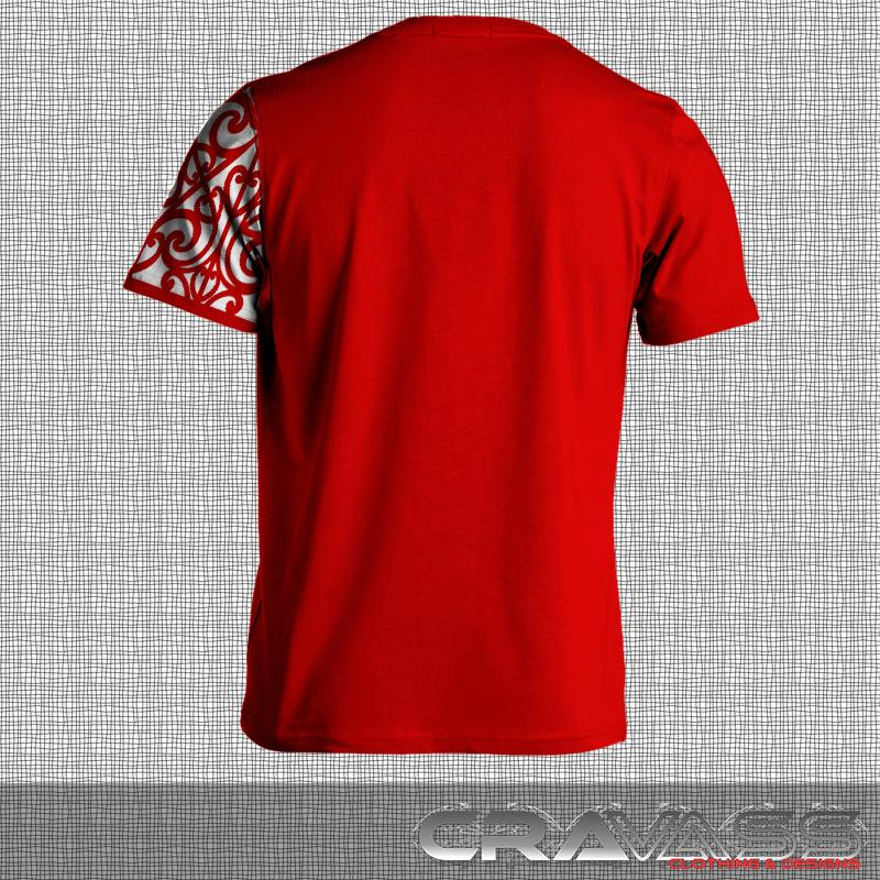 Red tshirt with white ta moko pocket with maori design sleeve.