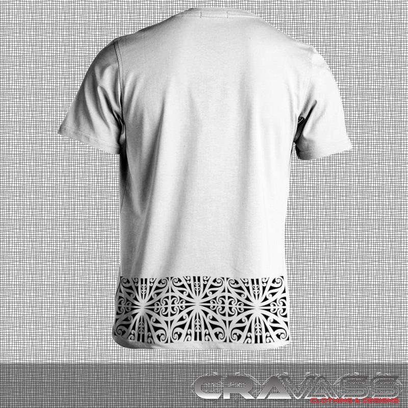 Mens white tshirt with black ta moko pocket with matching kowhaiwhai bottom maori design. Back view.