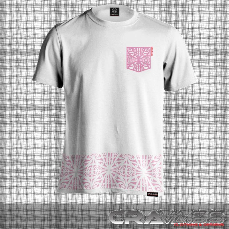 Mens white tshirt with pink ta moko pocket with matching kowhaiwhai bottom maori design.