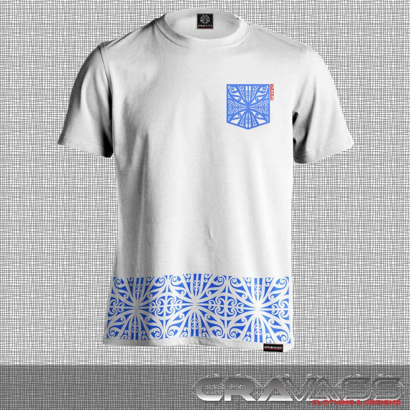 Mens white tshirt with blue ta moko pocket with matching kowhaiwhai bottom maori design..