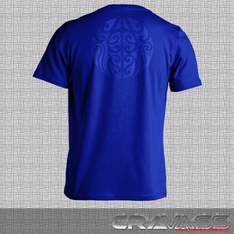 Blue tshirt with blue ta moko pocket with maori design on back of tshirt.