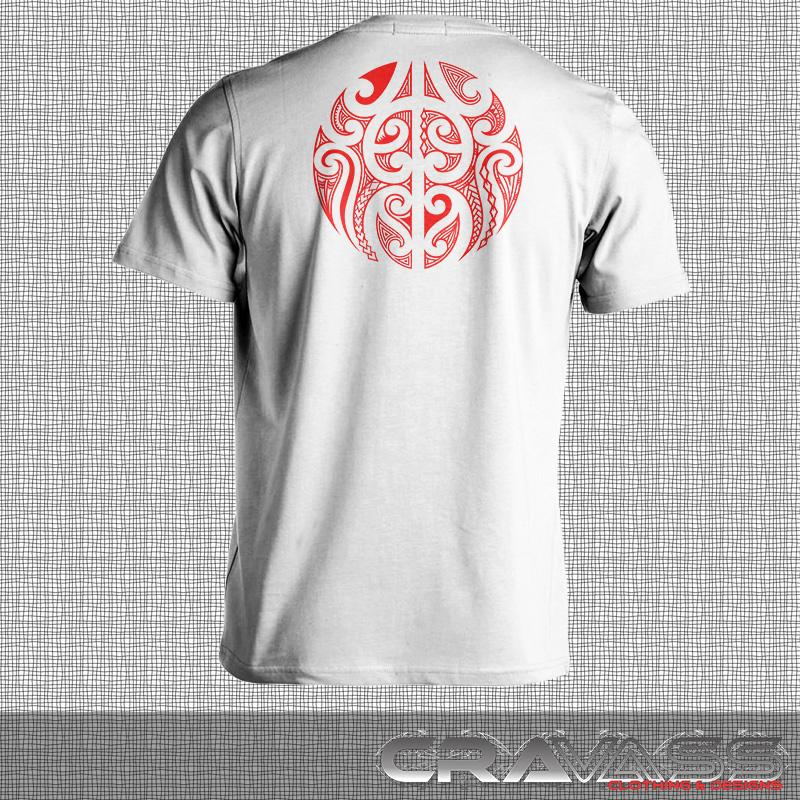 White tshirt with red ta moko pocket with maori design on back of tshirt.