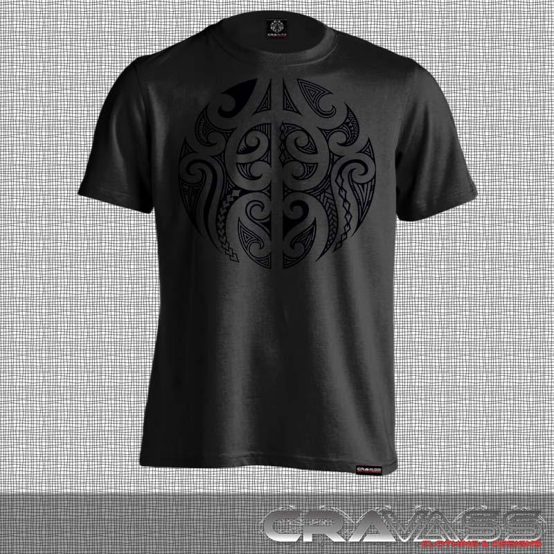 Black tshirt with a round black maori design.