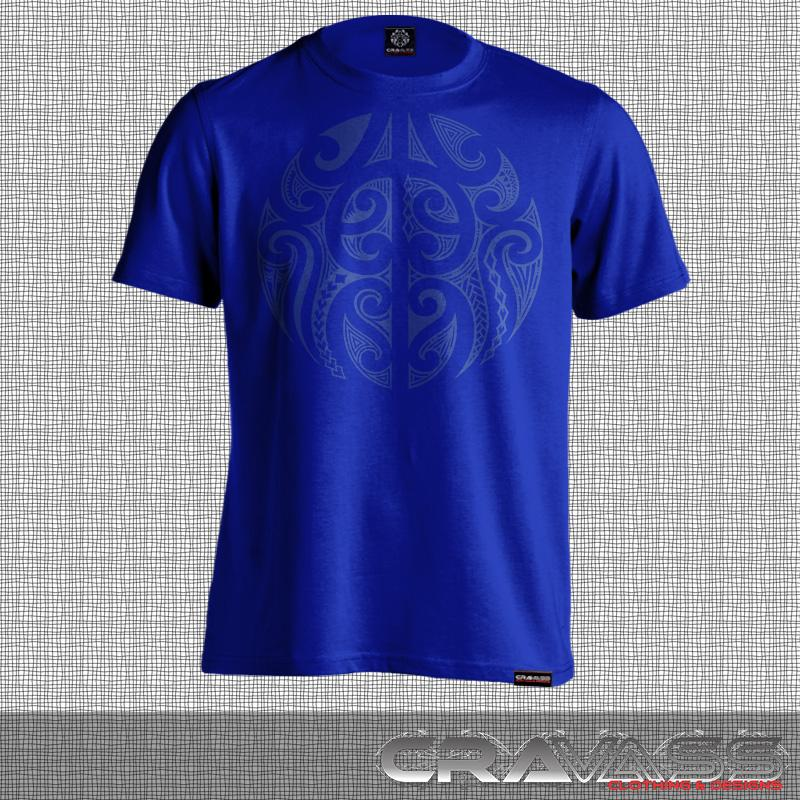 Blue tshirt with a round blue maori design