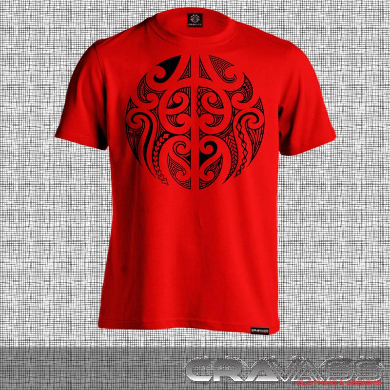 Red tshirt with a round black maori design.