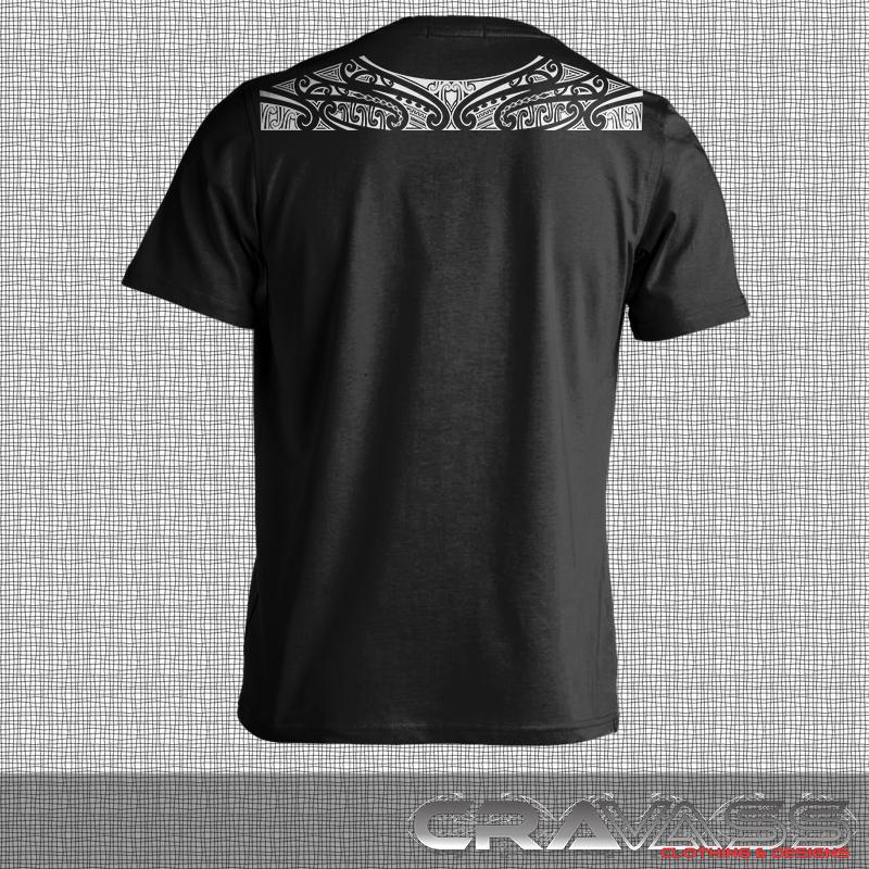 Mens black tshirt with a Ta moko maori design along top of shoulders from cravass