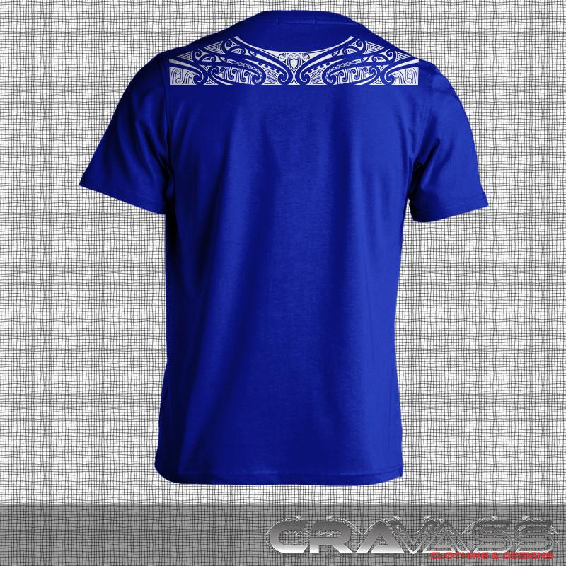 Ta moko maori design along top of shoulders on blue tshirt