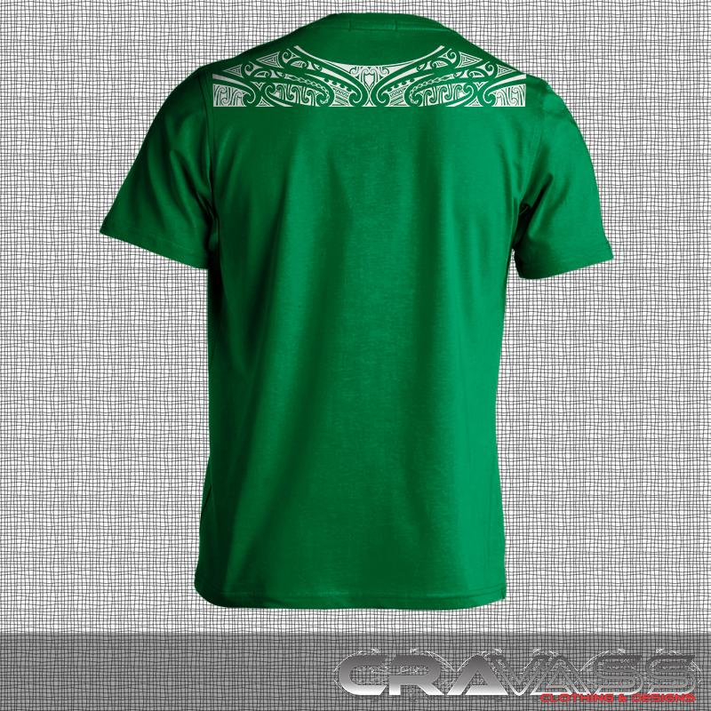 Ta moko maori design along top of shoulders on green tshirt