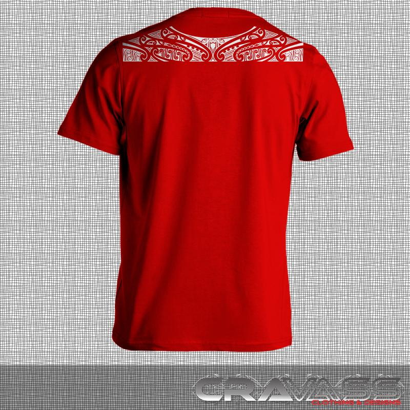 Mens red tshirt from cravass with a Ta moko maori design along top of shoulders. Front view.