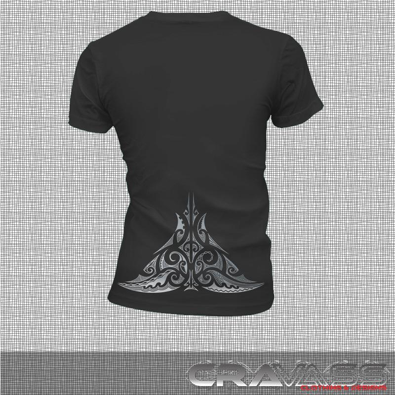 Womens black tshirt with large silver ta moko maori design, back