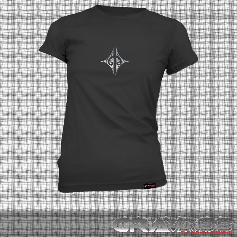 Womens black tshirt with small silver ta moko maori design, front