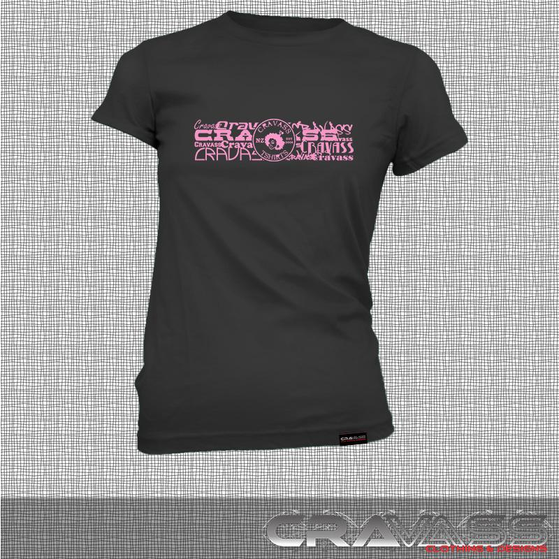 Womens black tshirt with cravass street logo, front