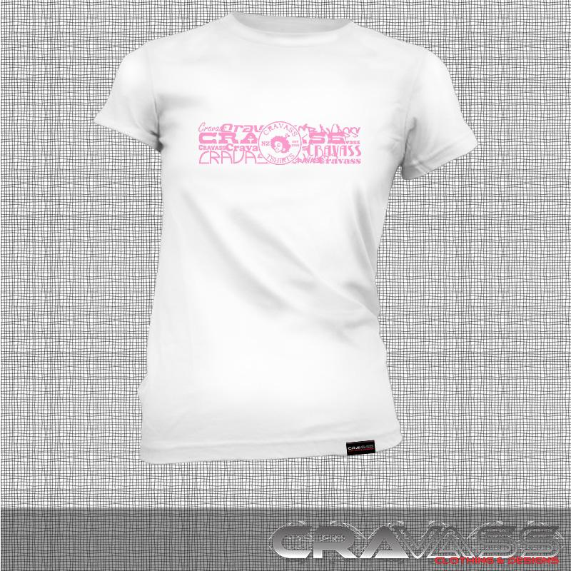 Womens white tshirt with cravass street logo, front