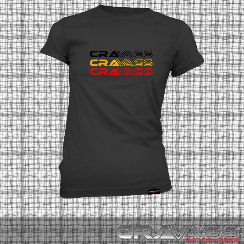 Womens black tshirt with tri coloured cravass logo