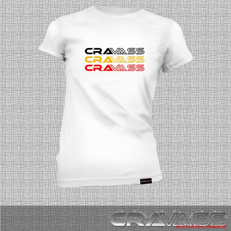 Womens white tshirt with tri coloured cravass logo