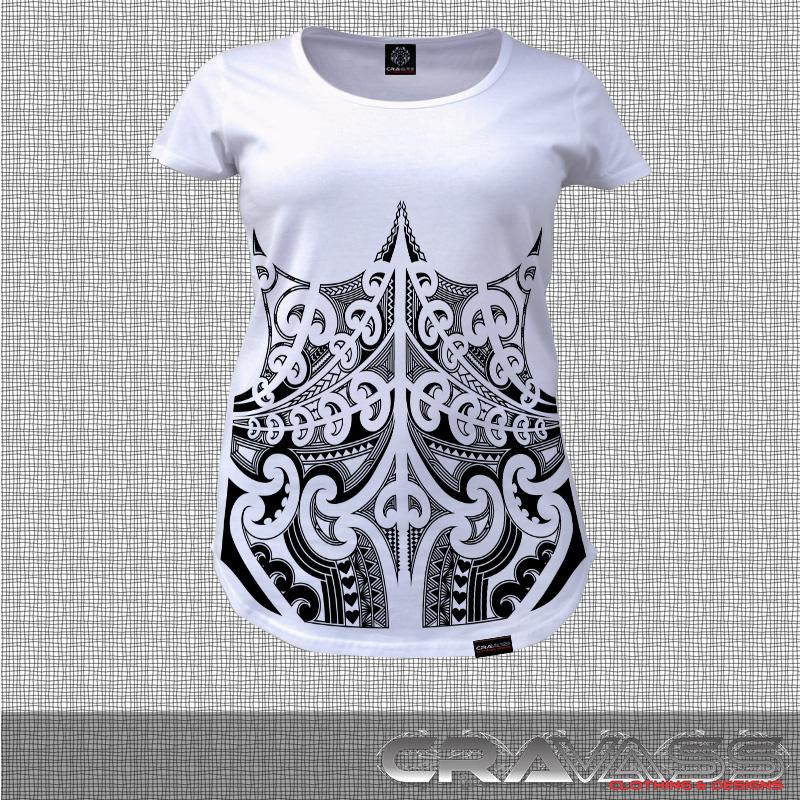 White tshirt with black corset ta moko maori design