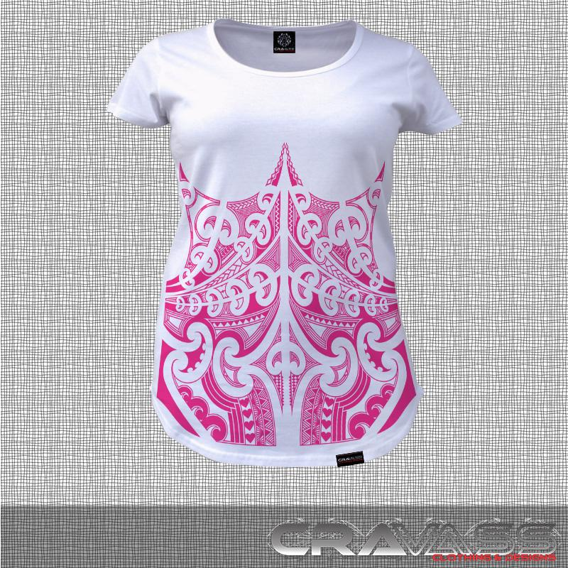 White tshirt with pink corset ta moko maori design