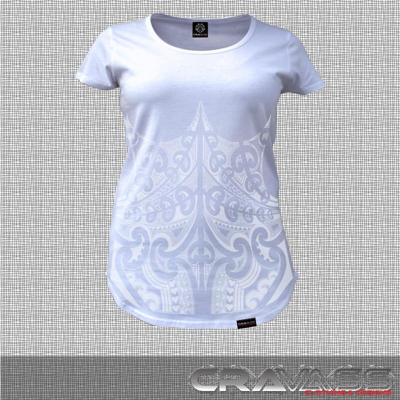 White tshirt with white corset ta moko maori design