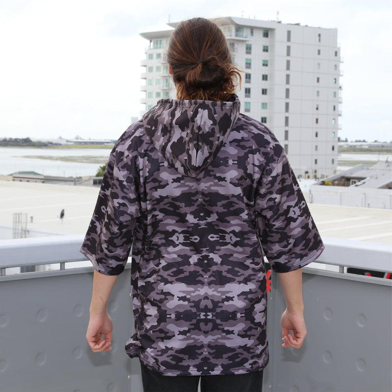 Cravass camo oversized hood, 3/4 sleeve, leather logo patch. back view