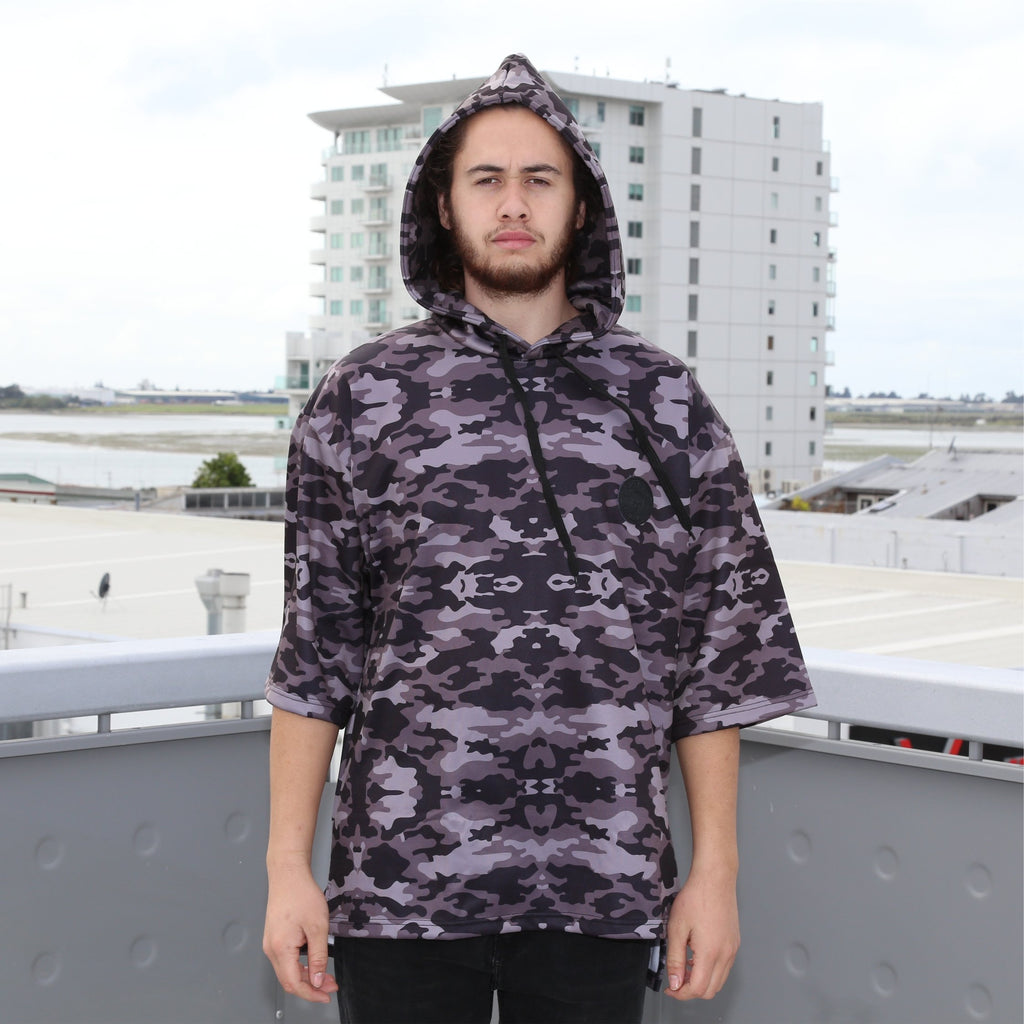 Cravass camo oversized hood, 3/4 sleeve, leather logo patch. front view