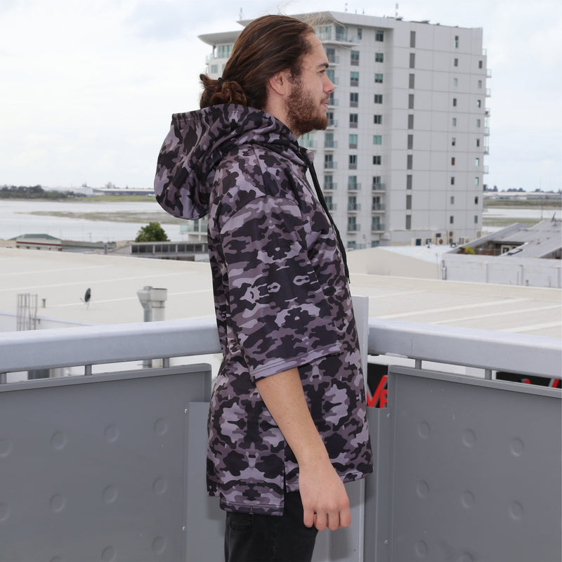 Cravass camo oversized hood, 3/4 sleeve, leather logo patch. side view