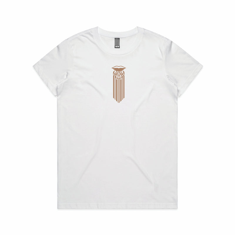 Women's white t-shirt with a Satin Mocha brown Maori Moko Kauae design