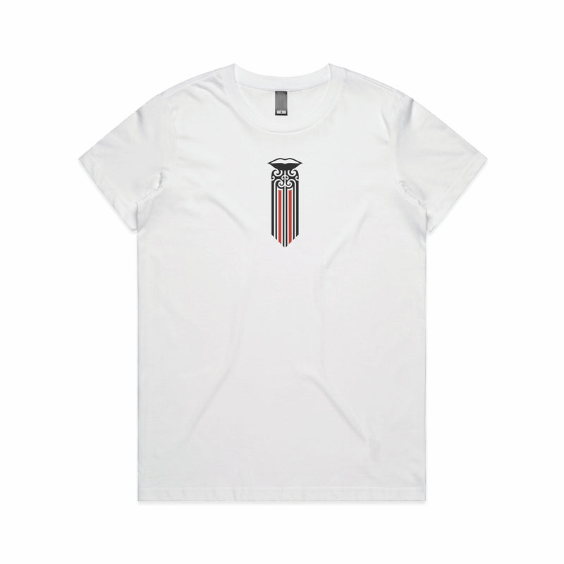 Women's white t-shirt with a red and black Maori Moko Kauae design