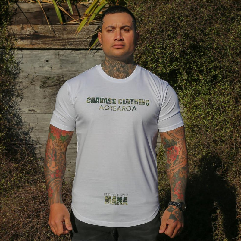 Mens white tshirt with Camo coloured logo from Cravass Clothing. Find your inner Mana