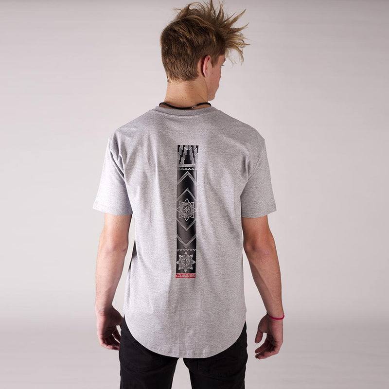 Mens grey tshirt with original maori / geometric design down the center of the back.