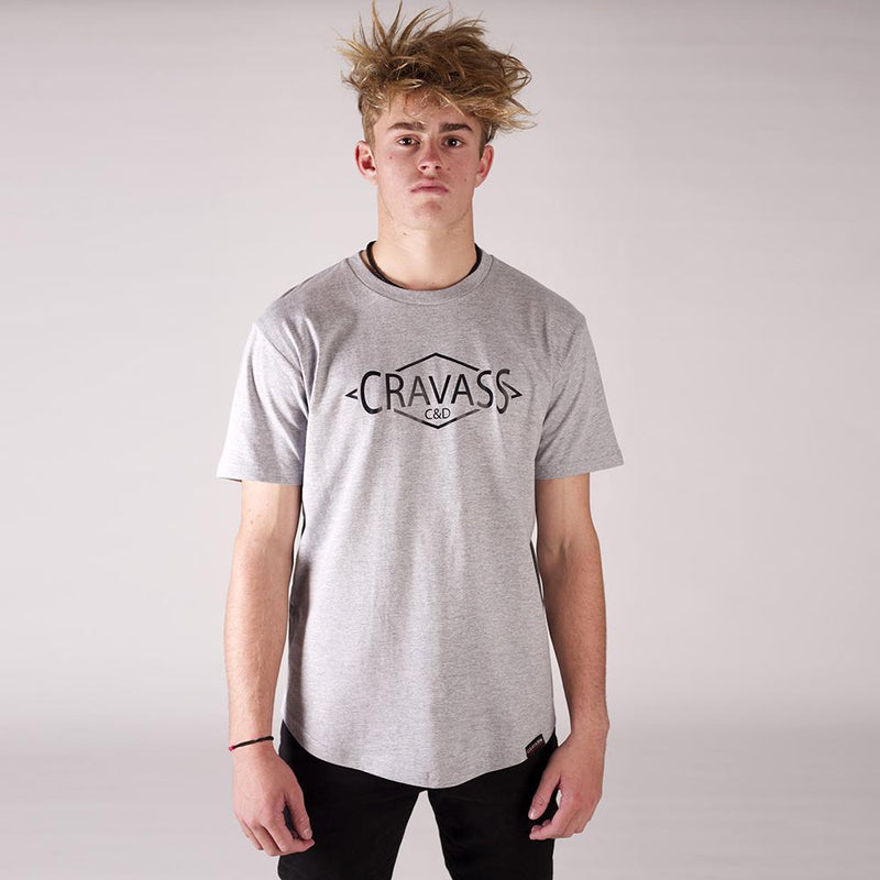 Front view of our Cravass grey drop tee with cravass diamond logo.