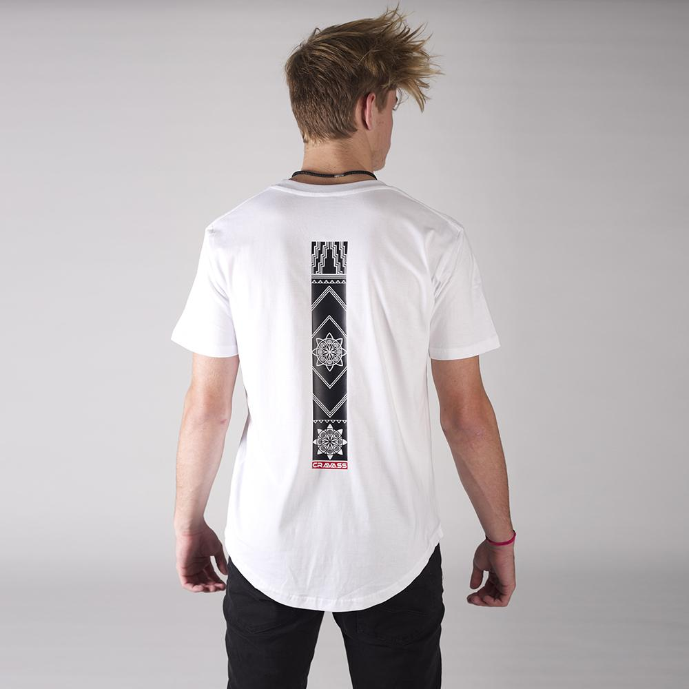 Mens white tshirt with original maori / geometric design down the center of the back from Cravass
