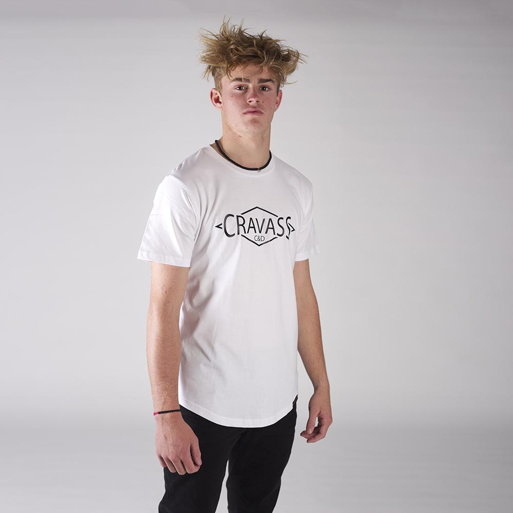 Front view of our Cravass white drop tee with cravass diamond logo.