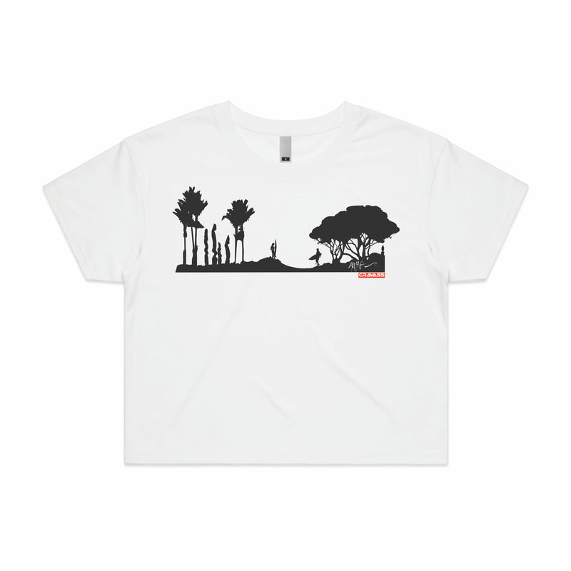 Women's crop tee with New Zealand surf scene.