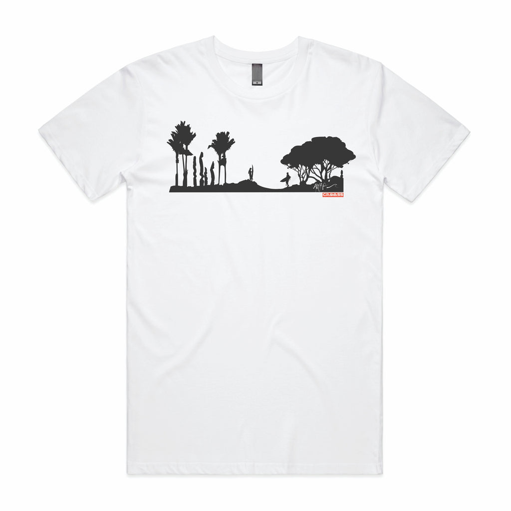 Men's white tshirt with black surf scene, NZ Pohutukawa, nikau and Pouwhenua