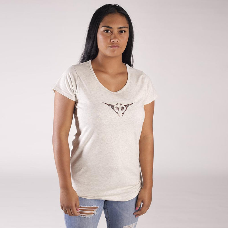 Womens oatmeal colour tshirt with small brown maori design on the chest.